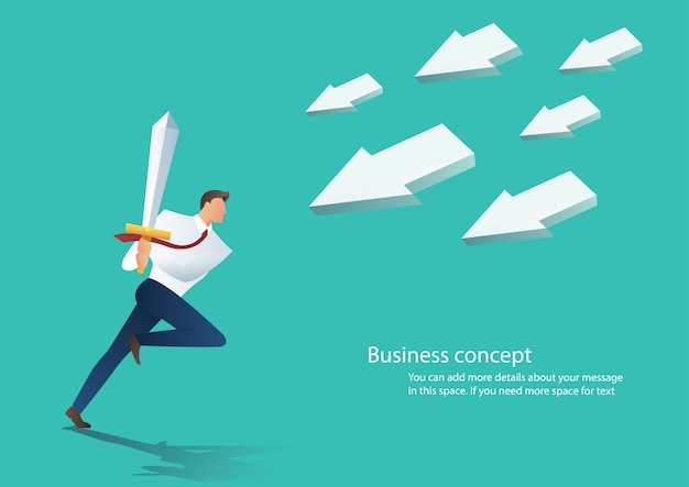 Icono de flecha atraer hombre de negocios con espada