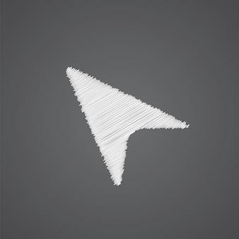Icono de flecha cursor dibujo logo doodle aislado sobre fondo oscuro