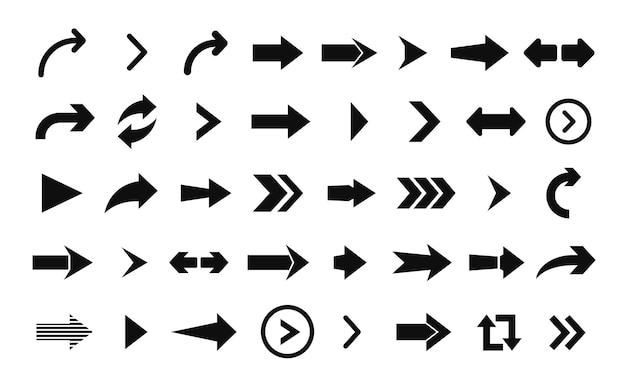 Icono de flecha. gran conjunto de flechas planas para diseño web, aplicaciones móviles, interfaz y más.