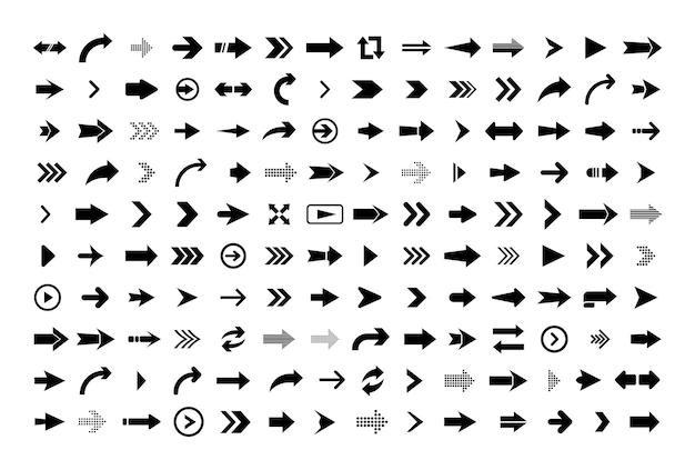 Icono de flecha. gran conjunto de flechas planas