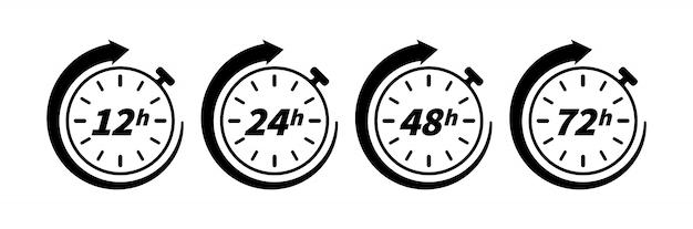 Icono de flecha de reloj de 12, 24, 48 y 72 horas aislado sobre fondo blanco. elemento conceptual para diseño web y de impresión. efecto del tiempo de trabajo o tiempo del servicio de entrega.