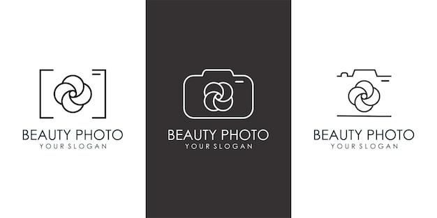 Icono de flor de cámara set diseño de logotipo símbolo de fotografía moderno y sencillo ilustración vectorial