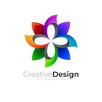 Icono de flor simple, logotipos 3d coloridos y modernos