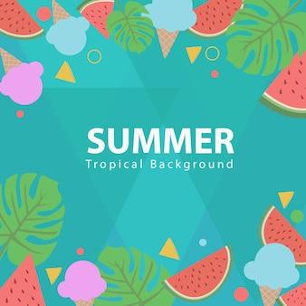 Icono y fondo tropical de verano
