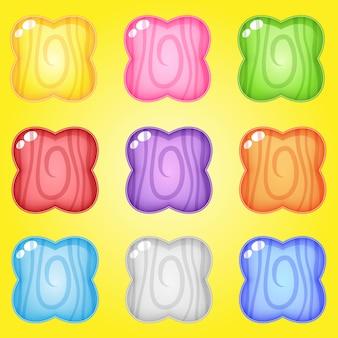 Icono y forma flores línea madera colores para juegos.