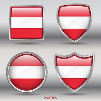 Icono de formas de bisel de bandera de austria