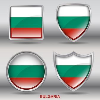 Icono de formas de bisel de bandera de bulgaria
