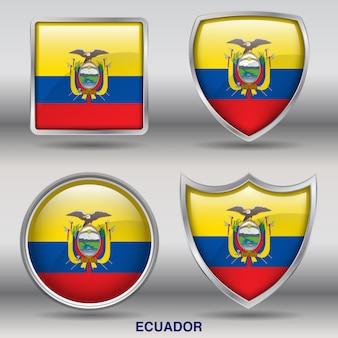 Icono de formas de bisel de bandera de ecuador 4