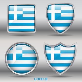 Icono de formas de bisel de bandera de grecia