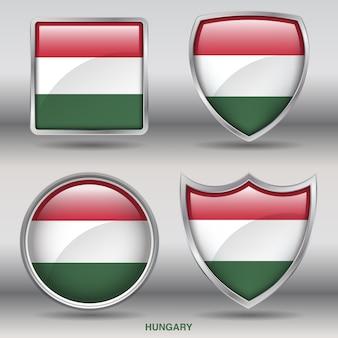 Icono de formas de bisel de bandera de hungría
