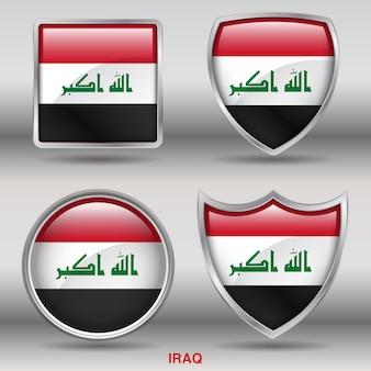Icono de formas de bisel de bandera de iraq