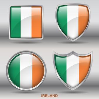 Icono de formas de bisel de bandera de irlanda