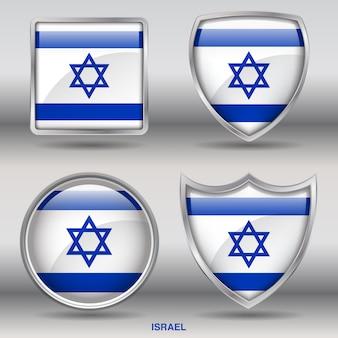 Icono de formas de bisel de bandera de israel