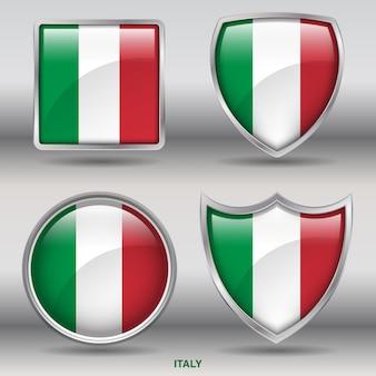 Icono de formas de bisel de bandera de italia