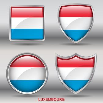 Icono de formas de bisel de bandera de luxemburgo