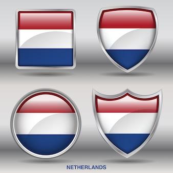 Icono de formas de bisel de bandera de países bajos