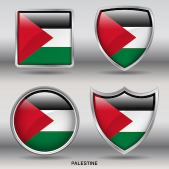 Icono de formas de bisel de bandera de palestina