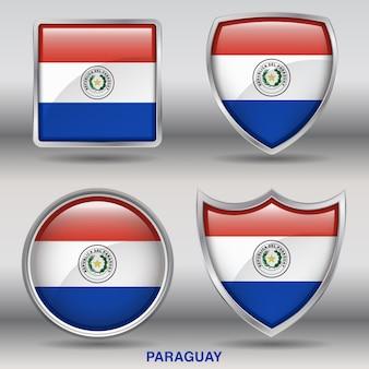 Icono de formas de bisel de bandera de paraguay