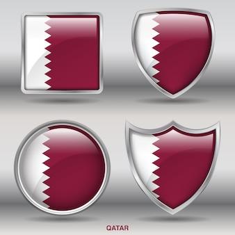Icono de formas de bisel de bandera de qatar