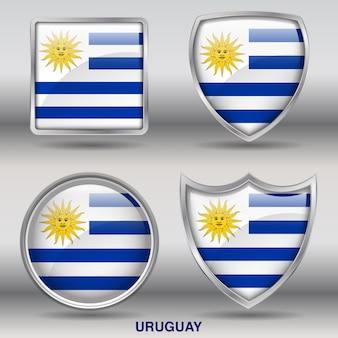 Icono de formas de bisel de bandera de uruguay