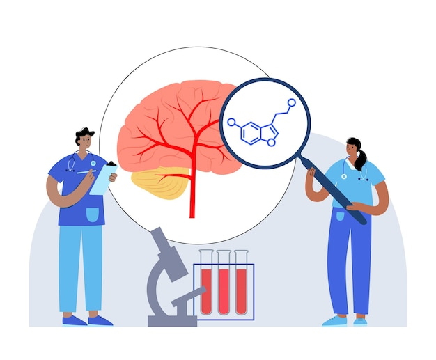 Icono de fórmula de serotonina. neurotransmisor monoamínico. ilustración de vector plano de cartel de estado de ánimo modulante