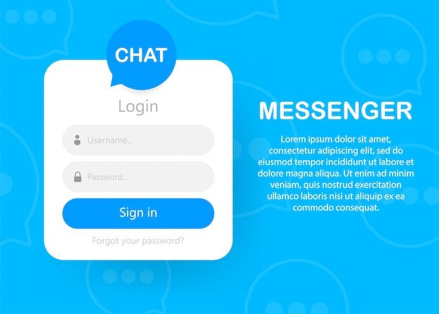 Icono del formulario de inicio de sesión página del formulario de inicio de sesión autorización de chat