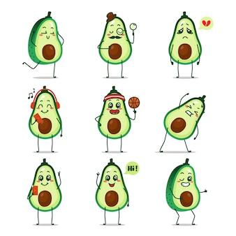 Icono de fruta de aguacate caricatura de dibujos animados haciendo actividad diaria deporte gimnasio estiramiento haciendo baloncesto tiene idea correr cantando música feliz alegre selfie bailando