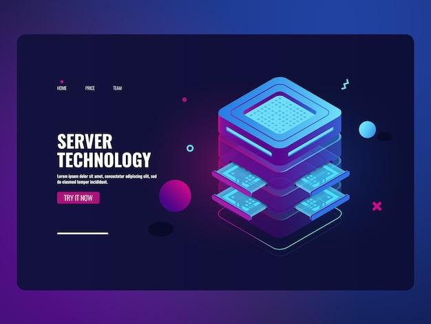 Icono futurista de banca en línea, sala de servidores, concepto, procesamiento de grandes datos