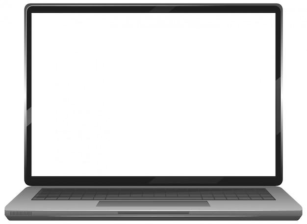 Icono de gadget portátil de pantalla en blanco aislado sobre fondo blanco