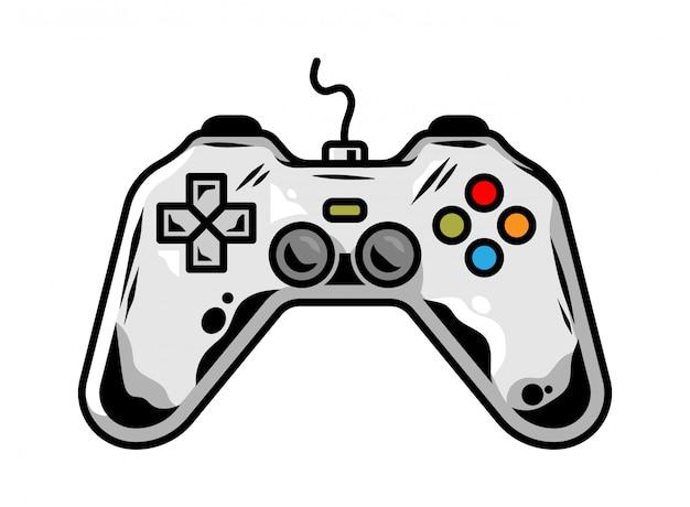 Icono de gamepad para jugar videojuego arcade para jugador diseño personalizado ilustración de dibujos animados