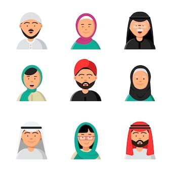 Icono de la gente del islam, avatares árabes web musulmanes cabezas de hombres y mujeres en hiyab niqab saudi caras en estilo plano