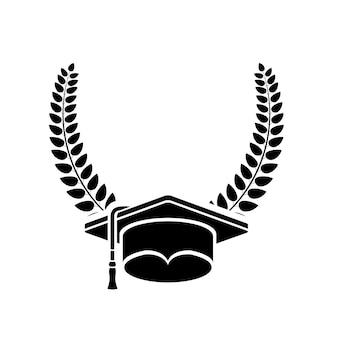 Icono de gorra y corona de graduación