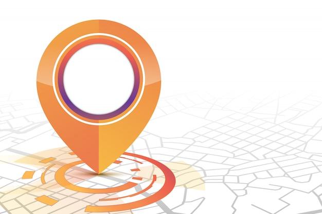 El icono de gps se burla del estilo de tecnología de color naranja que se muestra en la calle