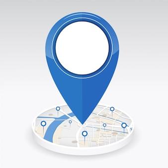 Icono de gps en el centro del mapa de la ciudad con ubicación de pin