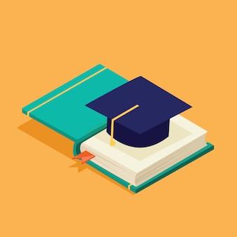 Icono de graduación exitosa isométrica