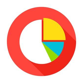 Icono de gráfico circular. ilustración de vector elemento de círculo de estilo plano con sombra larga. análisis de los datos.