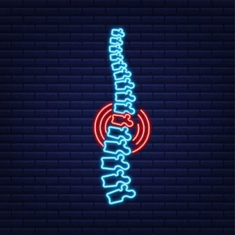 Icono gráfico humano de la columna vertebral de neón. anatomía humana. ilustración de stock vectorial.