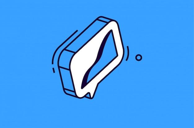 Icono de gráfico isométrico sobre fondo azul