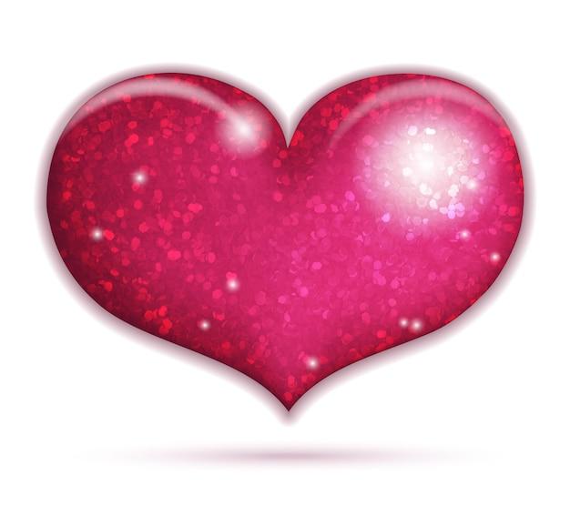Icono de gran corazón brillante aislado