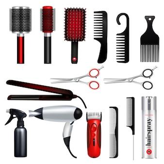 El icono grande del peluquero coloreado y aislado fijó con las herramientas profesionales de la ilustración del vector del peluquero