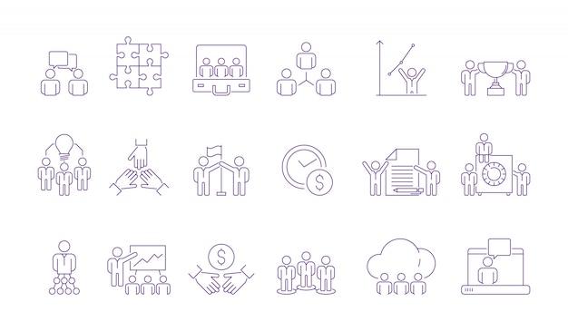Icono de grupo de equipo de coworking. coordinar el trabajo en equipo de gestión de personas de negocios que trabajan juntos para ayudar a delinear imágenes