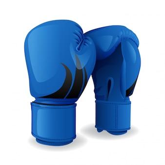 Icono de guantes de boxeo azul realista aislado, equipamiento deportivo