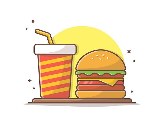 Icono de hamburguesa con soda y hielo