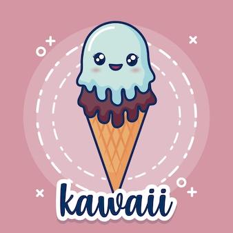 Icono de helado de kawaii