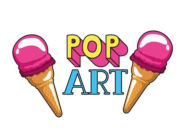 Ícono de helado de pop art