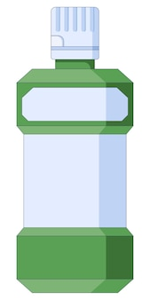 Icono de higiene bucal y cuidado dental enjuague bucal en un estilo plano aislado en un fondo blanco