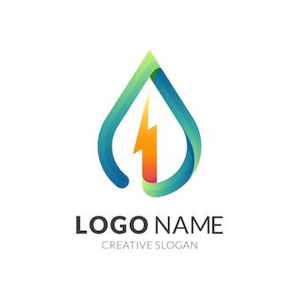 Icono de hoja con naturaleza de diseño de logotipo de trueno, logotipo de combinación con colores 3d