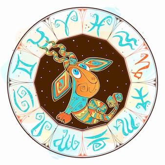 Icono de horóscopo infantil. zodiaco para niños. signo de capricornio