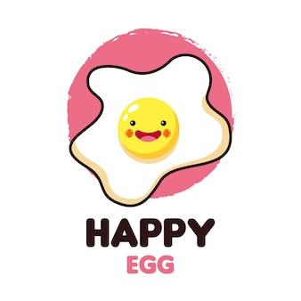 Icono de huevo feliz y comida kawaii