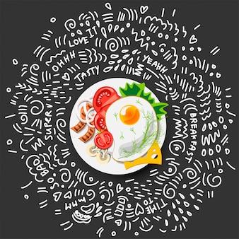 Icono de huevos fritos para el desayuno.